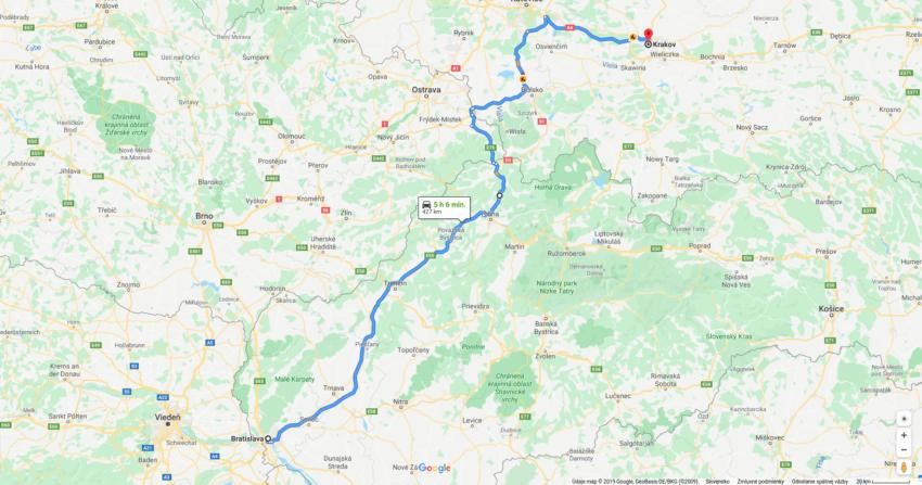 Cesta z Bratislavy do krakova