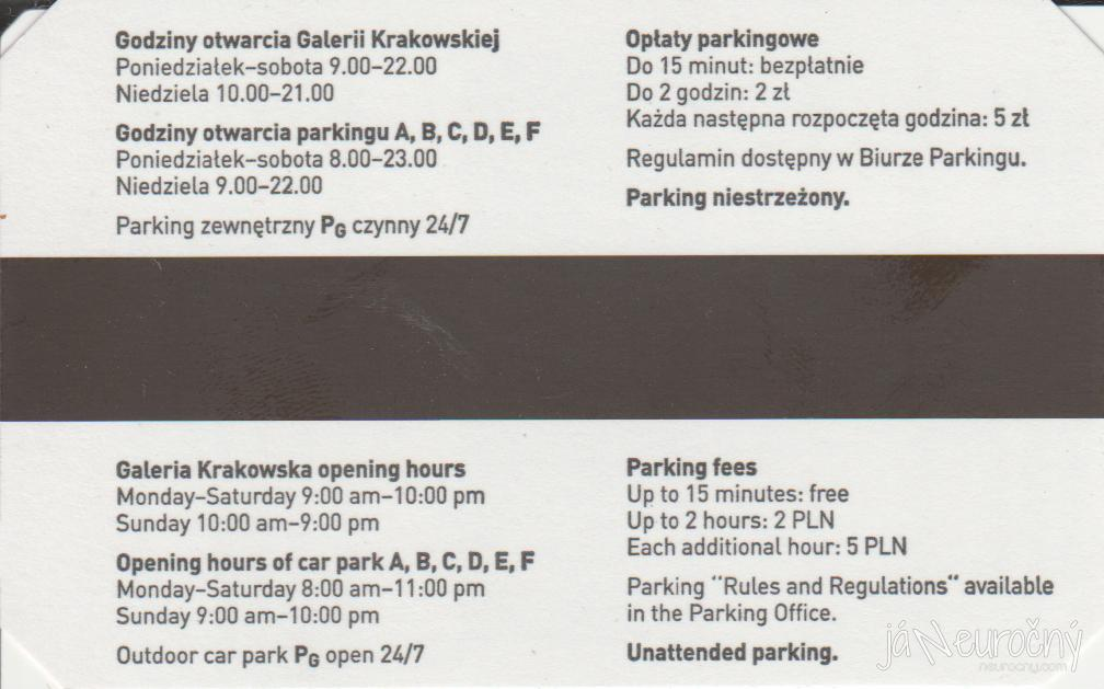 Parkovací lístok Galeria Krakowska
