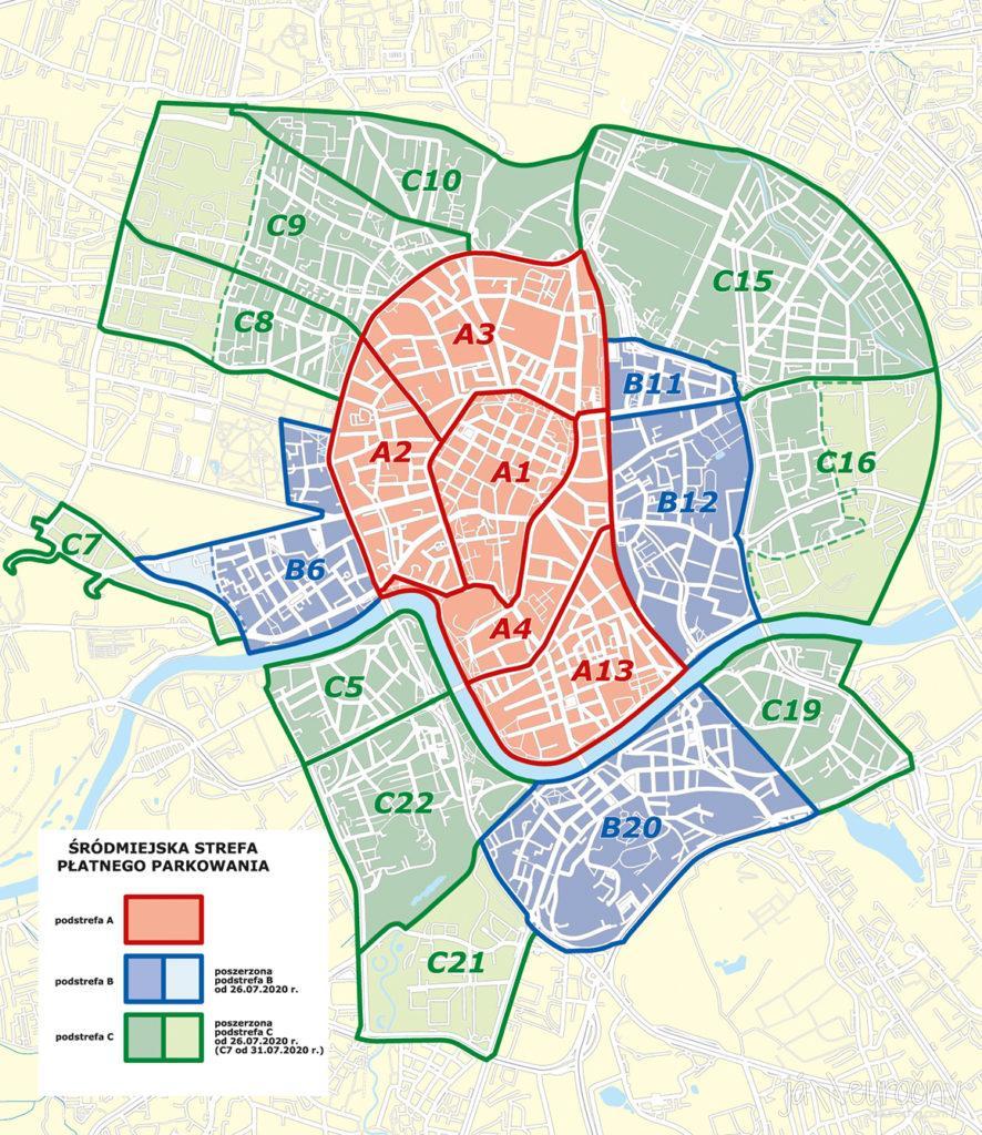 Mapa zón plateného parkovania